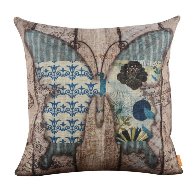 LINKWELL 18x18 Vintage Wood Slat Blue Butterfly Burlap Cushion Cover Throw Pillowcase Flower ...