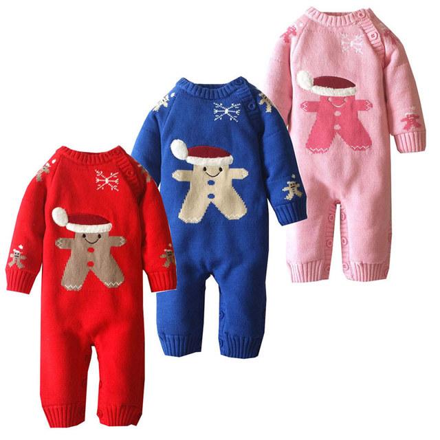 Espesar Fleece Ropa de Bebé de Invierno de Punto de Algodón Suéter de Los Cabritos de Los Mamelucos Del Bebé Recién Nacido Caliente Traje Lindo de La Muchacha del Mono Outwear
