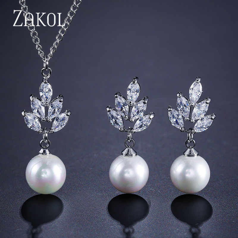 ZAKOL New AAA CZ Zirconia & Simulated Pearl Drop Earrings Pendant Necklace Set Fashion Ceystal Elegant Women Wedding Accessories