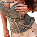 Owlprincess Sexy Club Ladies Strapless UK Flag Jeans Demin Wrapped Chest Bodycon Waistcoat Fashion Bandage Vest Jeans Clothes