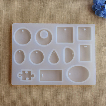 Silicone Pendant Mold Resin Moulds handmade DIY Jewelry Making geometry molds Square Round drop with hole