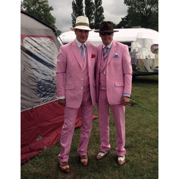 2017 Latest Coat Pant Designs Hot Pink Men Suit (Jacket+Pants+Vest) Groom Jacket Slim Fit Tuxedo Style Suits Custom Prom Blazers