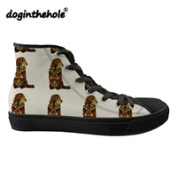 doginthehole Women's High top Vulcanized Shoes Golden Retriever Printing Classic Canvas Shoes for Teenagers Fashion Sneakers