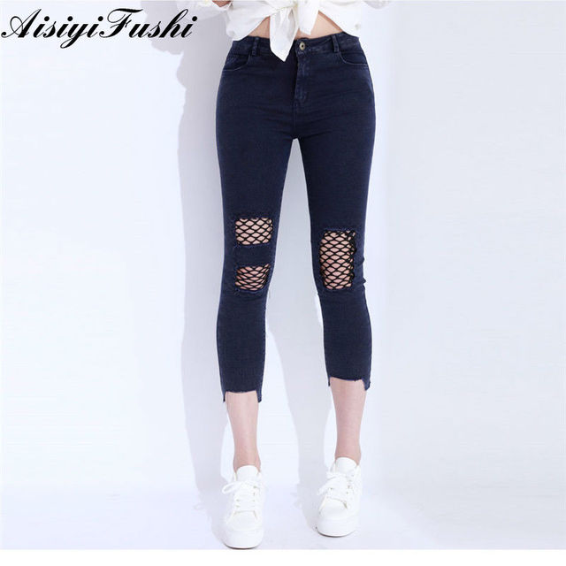 08da4e91ec26dc Skinny Jeans For Woman Ripped Pants Female Hollow Out Destroyed Capris Jeans  Black Women'S With High Waist Women Pants Harem