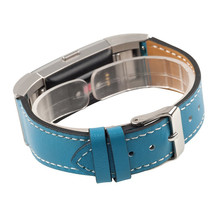 4 colors for fitbit charge 2 band strap leather strap bracelet for fitbit charge 2 strap with metal Stainless steel adaptor(China (Mainland))