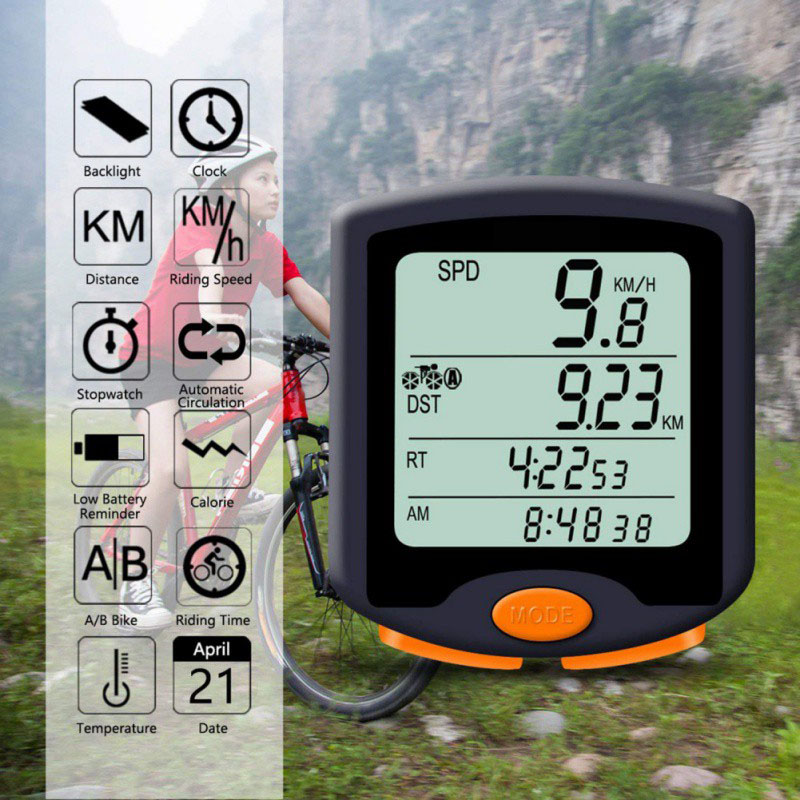Wired Waterproof Bike Cycling Computer Odometer Speedometer Backlight Bicycle Speeding Alert Stopwatch Display Code Table