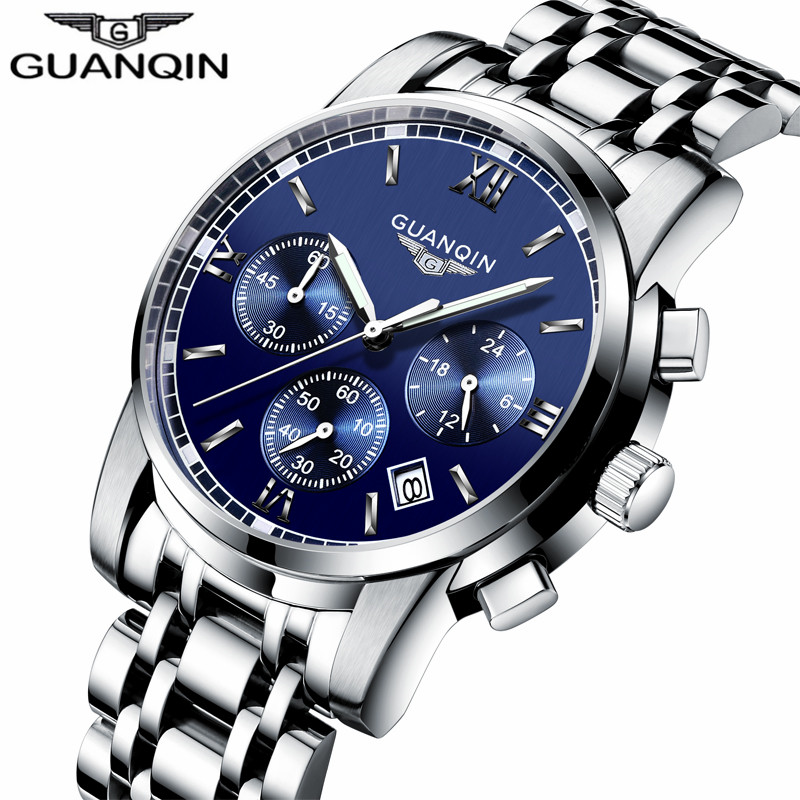 New Luxury Watch Brand GUANQIN Quartz Watch Men Steel Fashion Clock Male Waterproof Watches With Calendar Chronograph Luminous new listing men watch luxury brand watches quartz clock fashion leather belts watch cheap sports wristwatch relogio male gift