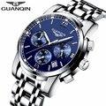 Novo relógio de luxo marca guanqin homens relógio de aço de quartzo moda relógio masculino relógios à prova d' água com calendário cronógrafo luminosa