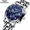 Nueva marca de relojes de lujo guanqin reloj de cuarzo hombres de acero reloj de moda masculina impermeable de los relojes con calendario cronógrafo luminoso
