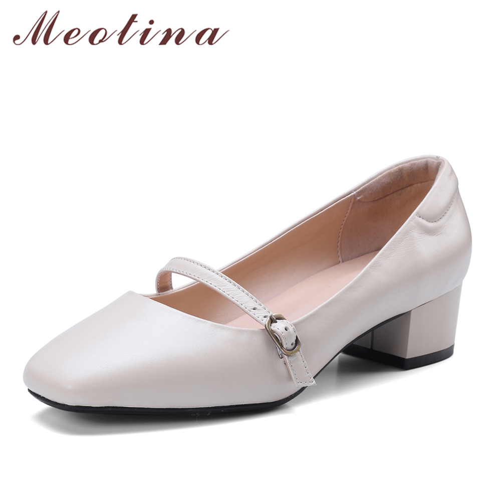 Meotina Genuine Leather Shoes Women Pumps Mary Jane Shoes Buckle Block Mid Heels Female Square Toe Cow Leather Footwear Beige genuine cow leather female women s 10cm heels pumps round toes black beige quality female pr354 wedding party work pumps shoe