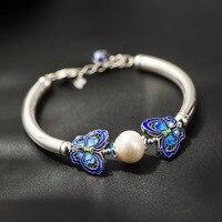 925 Silver Butterfly Bracelet hand woven Natural Freshwater Pearl Bracelet Filigree Butterfly Bead Jewelry