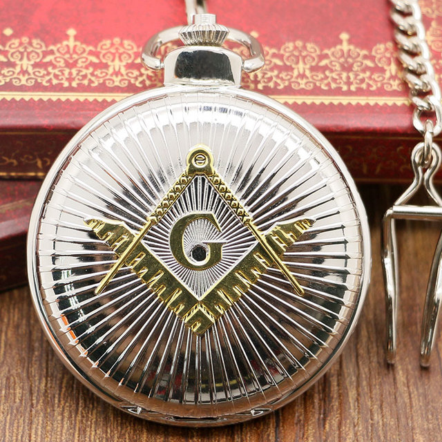 Golden/Silver Pocket Watch Freemason Necklace Pendant Wathes Masonic Male Gift 2017
