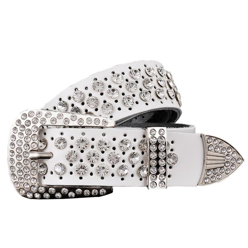 Rhinestone Waist Luxury Cowskin Leather Belt