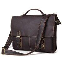 Free Shipping Vintage 100 Genuine Leather JMD Men Briefcase Portfolios Office Bags Business Bag Messenger Bag