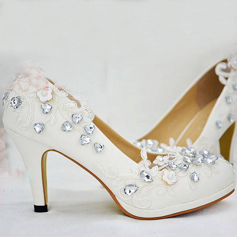 Cheap Crystal Lady's Formal Shoes High Heels Bridal