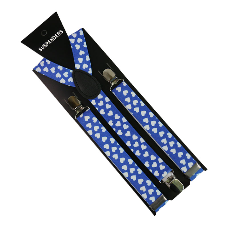 Men/Women Blue Heart Print Suspenders 3 Clip Pants Y-Back Clip-on Adjustable Elastic Braces Suspenders Clothing Accessories