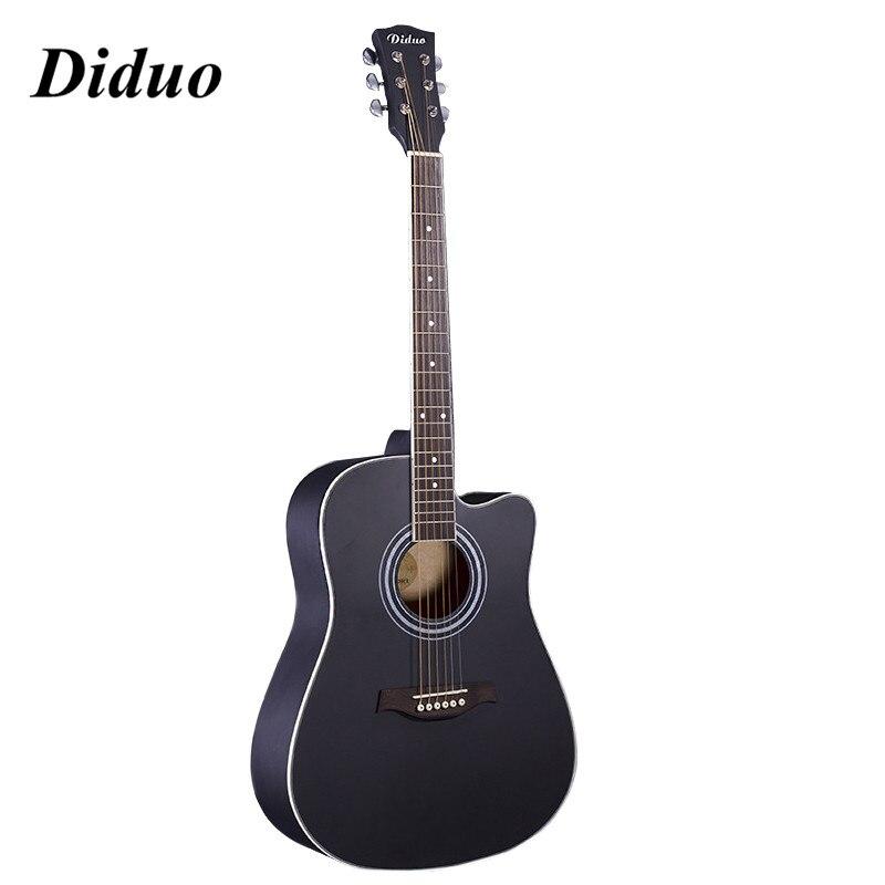 Diduo 41'' Black Acoustic Guitar  Closed Knob Violao Wood Guitar Guitar Musical Instrument Acoustic Guitarra 230-BK amumu traditional weaving patterns cotton guitar strap for classical acoustic folk guitar guitar belt s113