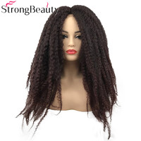 Strong Beauty Synthetic Afro Kinky Curly Hair Braided Long Dark Brown/Black Single Rod Twist Out Ombre Wigs For Black Women