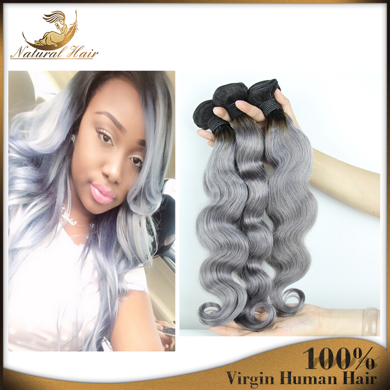 #1B/Gray Hair Extensions Boby Wave Peruvian Virgin Hair 3pc/lot Peruvian Grey Hair Weave Ombre Gray Hair Free Shipping