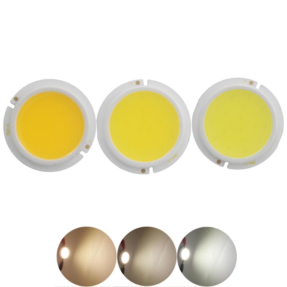 Allcob engrossar LEVOU Fonte de Luz COB rodada 43mm para projector módulo da lâmpada de bulbo chip gênese 3W 5W 7W 9W Natureza Quente COB Branco LEVOU