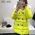 Плюс размер 3xl 4xl 5xl 6xl 2017 зима женщины сгущает белая утка вниз пальто куртки девушка дамы snowimage двубортный снег куртка