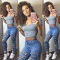 Mujeres Rasgaron Los Pantalones Flacos del Dril de algodón de Cintura Alta Stretch Jeans Pantalones Lápiz Delgado