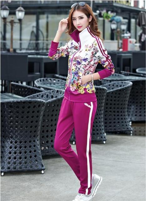 Plus Size L-5XL Tracksuit Two Piece Outfits Women Long Sleeve Top and Long Pants Autumn Fashion Floral Print Women Set Sportwear 1