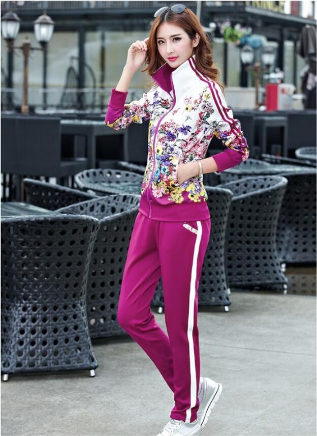 Plus la Taille L-5XL Survêtement Deux Pièces Tenues Femmes Haut À Manches Longues et un Pantalon Long Automne De Mode Imprimé Floral Femmes Ensemble sportwear - 5