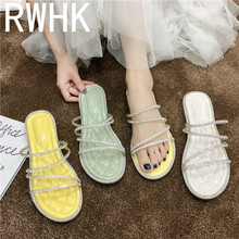 RWHK 2019 super fire fairy crystal shoes summer fashion sweet wild with color diamond holiday slippers B504