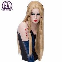MSI Wigs, Длинные Синтетические парики для косплея, плетеные волосы, блонд, прямой парик, розовая сетка, серебристо-белый, Игра престолов, Плетеный женский парик