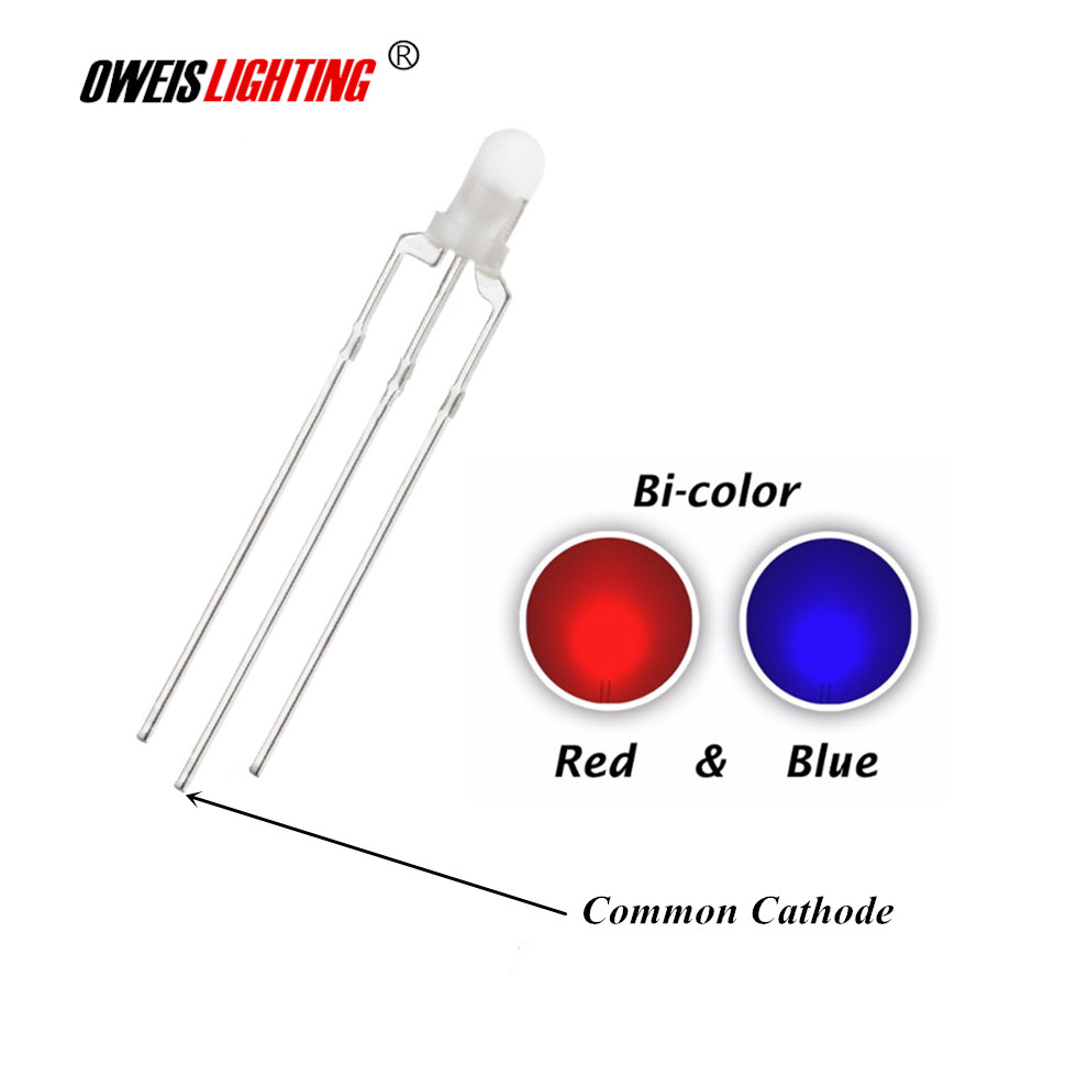 100pcs 3mm F3 Red And Blue Diffused LED Common Cathode 3pin LED Indicator Light Round Head 20mA Bicolor Lamp Light Beads