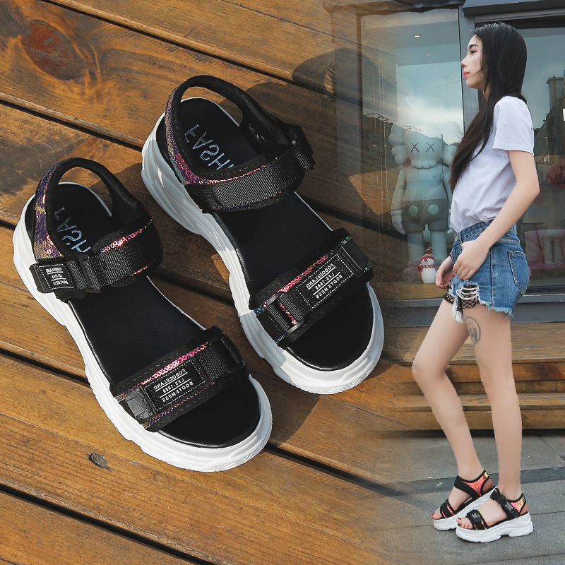 HTB1sb2ecQxz61VjSZFrq6xeLFXa3 - Fujin Summer Women Sandals Buckle Design Black White Platform Sandals Comfortable Women Thick Sole Beach Shoes