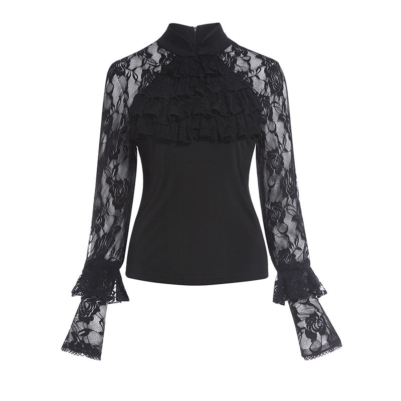 Kinikiss Women Vintage Lace Blouse Shirts Black Rose Floral Mandarin Collar Blouse Lady Black Hollow Out Lace Ruffle Shirts Tops