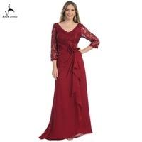 Eren Jossie Burgundy Silver Color Latest V Neck 3/4 Sleeves Style Mother of the Bride Dresses Floor Length