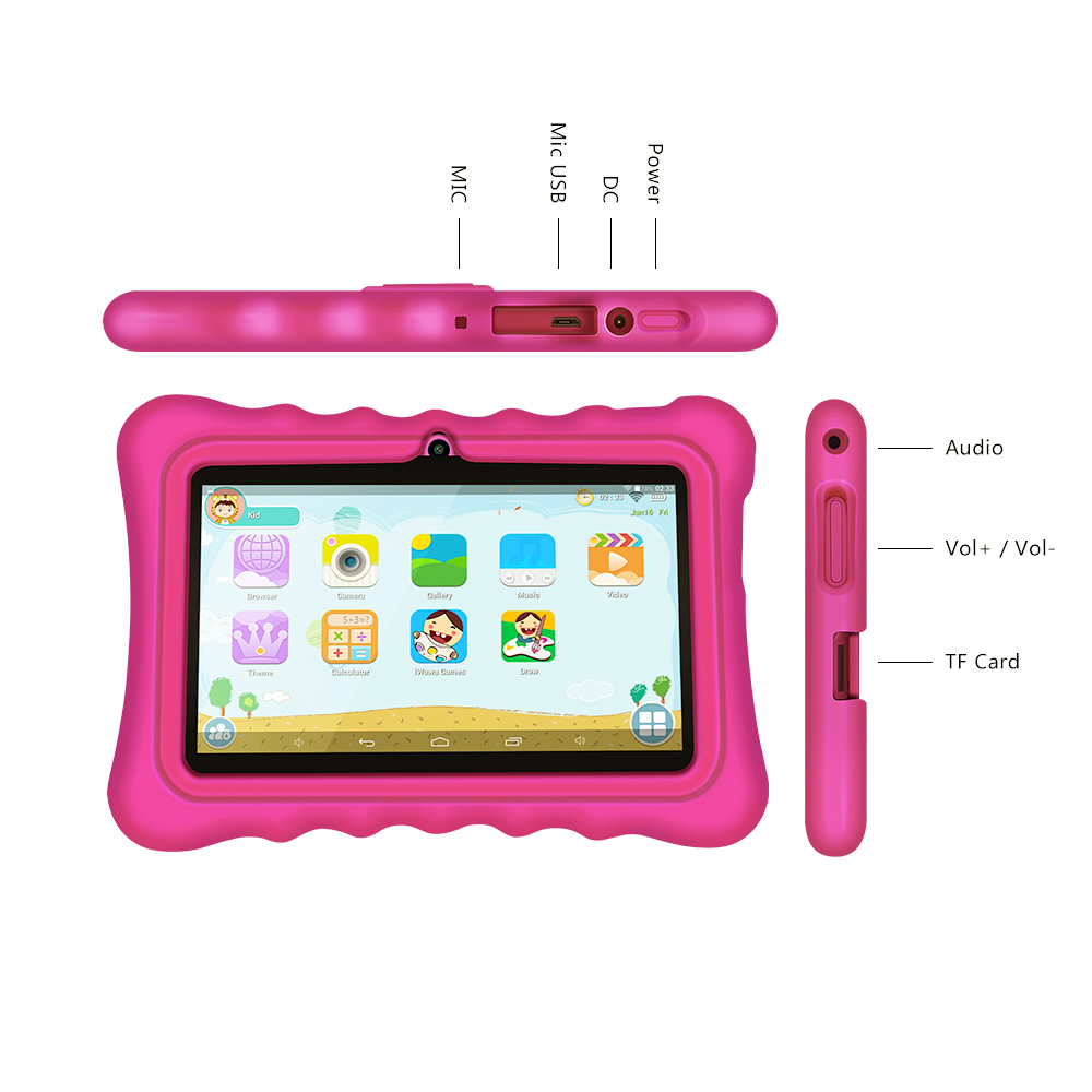 Yuntab 7 Android 4.4 touch screen kid Tablet PC load Iwawa kid software with 3D-Game ,educational tablet for children(rose red)