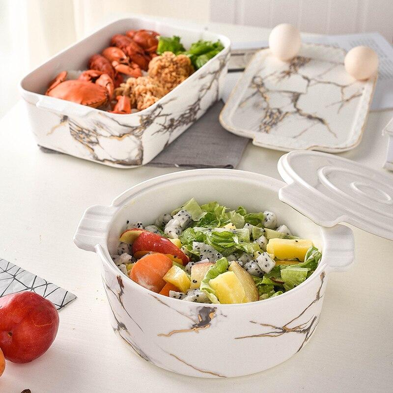 Créatif marbre motif céramique porcelaine plaque de cuisson étudiant déjeuner bol de riz avec couvercle rond Rectangle Premium bac à légumes cadeaux