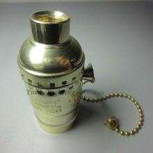 2 unids/lote oro Vintage E27 de aluminio de interruptor de la cremallera titular de la lámpara hembra se aplican en Edison bombilla luz envío gratis