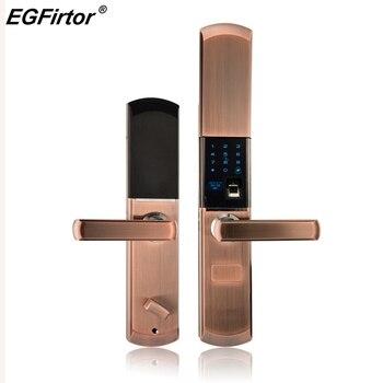 Цифровой Semicondu отпечатков пальцев Smart Lock отпечатков пальцев электронные замок двери автоматический для дома с пароль разблокировки карты >> EGFirtor Official Store