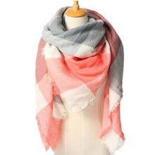 Za Christmas Scarf Winter Brand Neck Warmer Houndstooth Cashmere Tartan Plaid Double Side Blanket Scarf Shawl