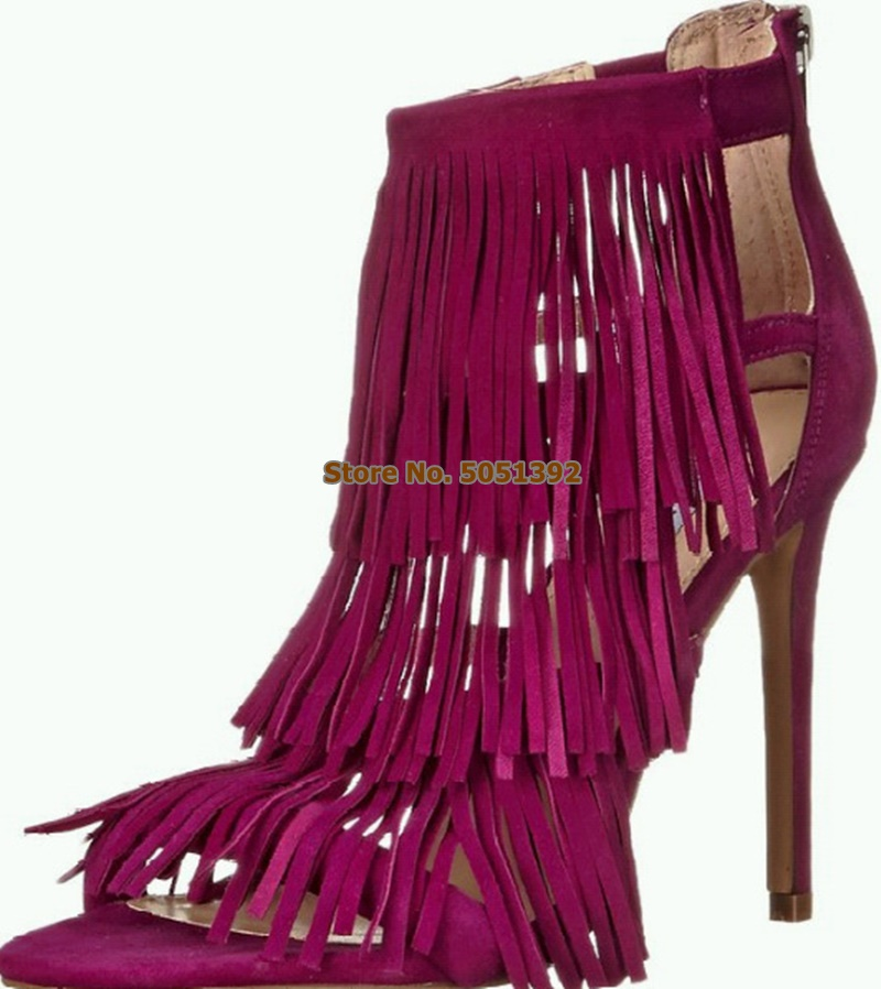 Frauen High Heel Sommer Sandalen Fringe Wildleder Stiefeletten Peep Toe Quaste Nubuk Stiletto Mode Booties Große Größe - 5