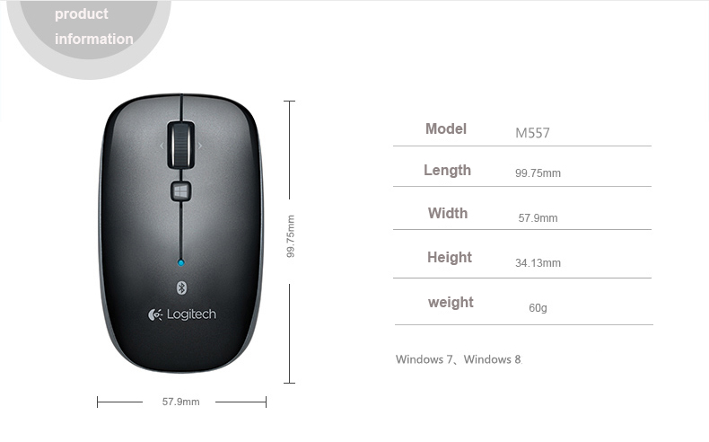 Details about Logitech M557 M558 Bluetooth Wireless Mouse Windows XP 7,8,10  Mac OS