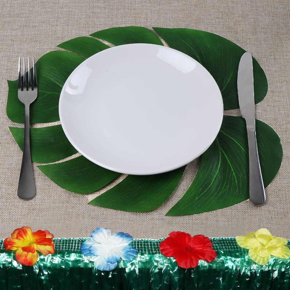 OurWarm 12pcs 35x29cm Palm Leaf Table Placemats Artificial Leaves Placemats For Table Decoartion Table Accessories Hawaii Party
