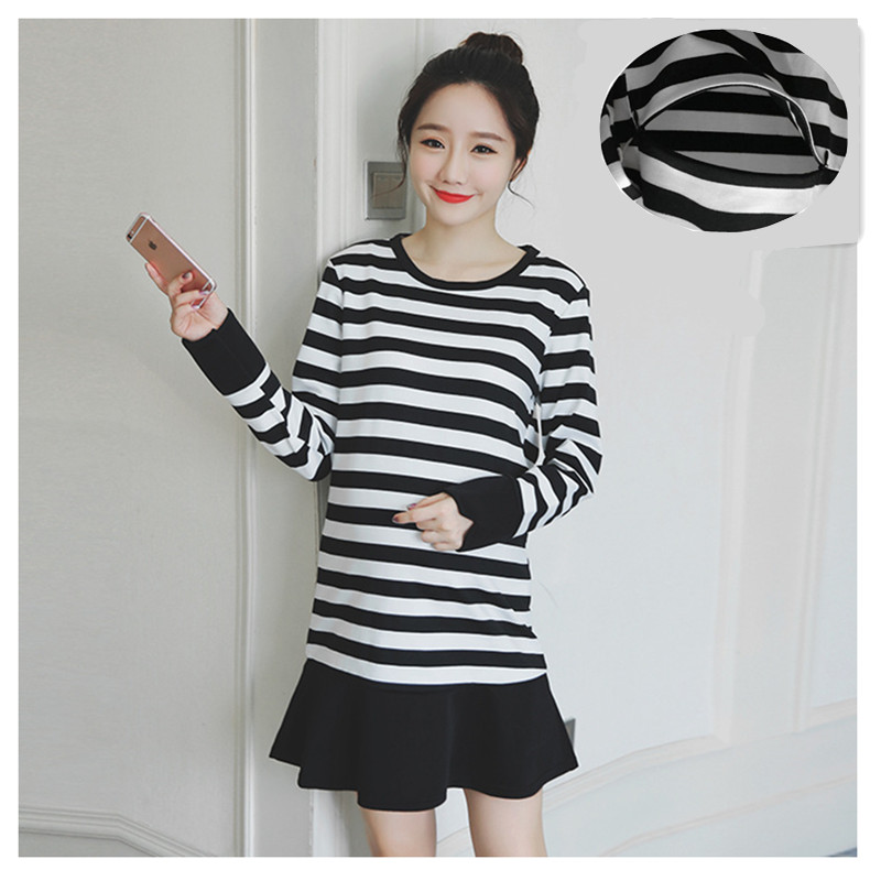 High Quality Maternity Dress Hot Striped Breastfeeding Clothing For Pregnant Women Long Sleeve Nursing Pregnancy Clothes B0396