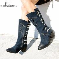 Mabaiwan 2019 Для женщин На высоких толстых каблуках на молнии обувь в стиле милитари зима осень обувь женская обувь Винтаж мотоциклетные низкие