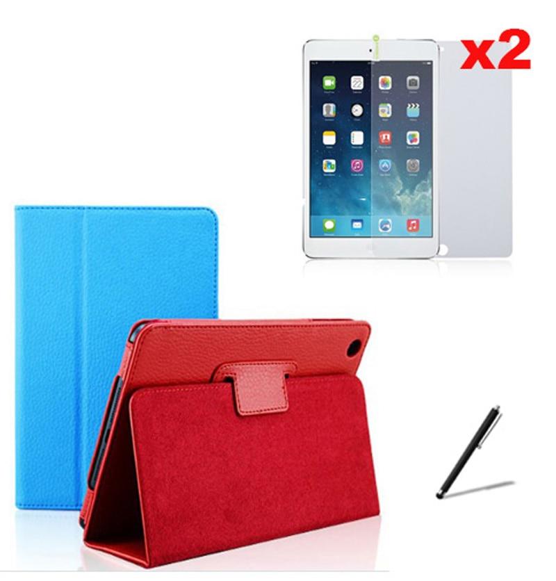 4in1 Luxury Folio Stand Läderfodral Skyddsmagnet Skal + 2x Filmer + 1x Stylus För Apple iPad Mini 1 2 3 Mini1 Mini2 Mini3