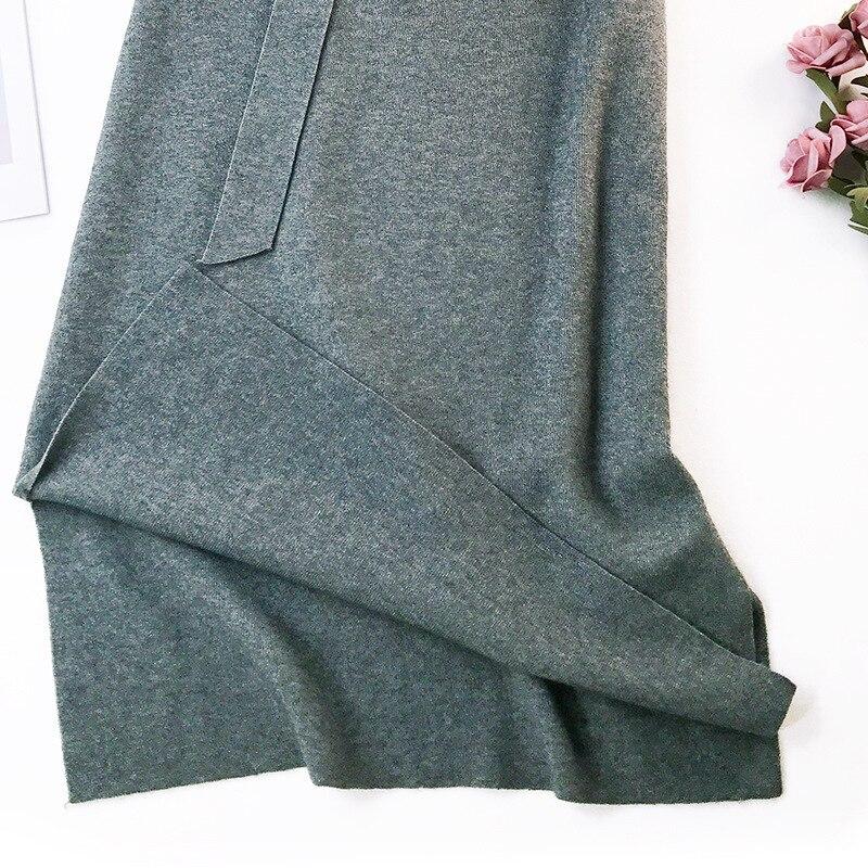 344 water velvet knit skirt women 2018 autumn and winter new women's long section high waist bag hip split A skirts 10