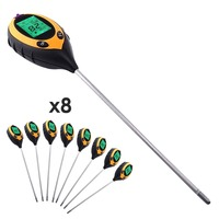 8 pieces x Digital 4 in 1 Soil Plant Lawns pH Temperature Moisture Light Meter Tester w/200mm long Probe + Backlight LOT OF 8