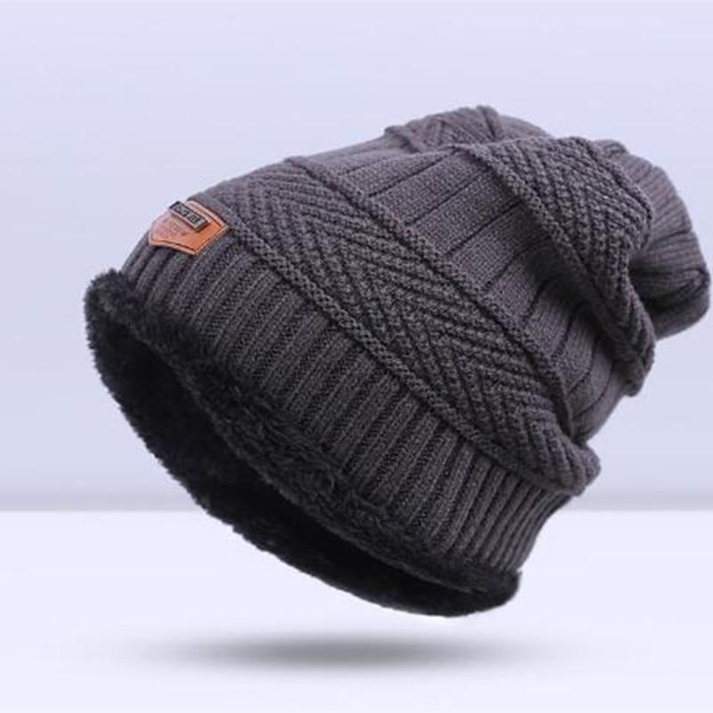 Зимняя вязаная шапка, шарф, набор, Мужская однотонная теплая шапка, шарфы, мужские зимние уличные аксессуары, шапки, шарф, 2 штуки - Цвет: Grey2
