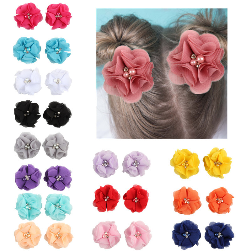 2pcs Lovely Baby Girls Mini Chiffon Flowers with Pearl Rhinestone Center Hair Clips Lace Flower for Fashion Girl Party   Headwear