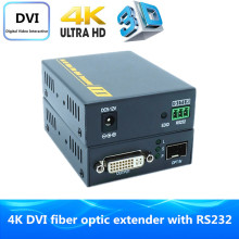 Super Quality 4K DVI Fiber Optic Extender 2km By Fiber Optical Audio Converter Support RS232 & 3D DVI Video Transmitter Receiver